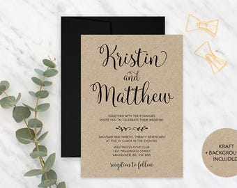 Ordinaire Kraft Paper Wedding Invitation, Rustic Wedding Invitation, Printable Wedding  Invitation, Vintage Wedding Invitation