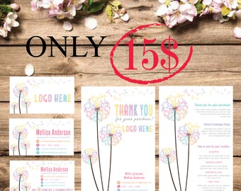 PRINTABLE Business Card, Punch Card, Thank You Card / Care Instructions Card, Buy 10 Get 1 Free, Dandelion, Digital Files LLR014