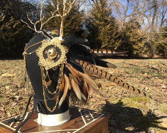 Dihya ~ Feathered Headdress One-of-a-Kind Crown