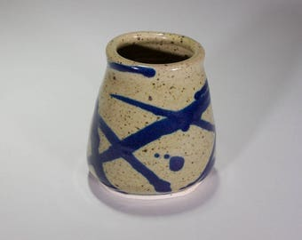 Unusual Green and Deep Blue Oval Shaped Yerbe Matte Mug or Vase of Wheel Thrown White Stoneware