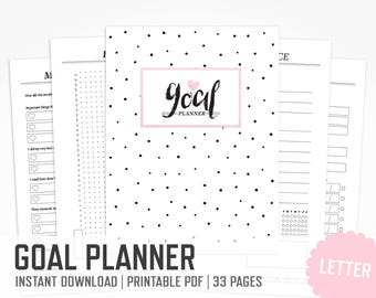 Goal Planner / Letter size / Project Planner Inserts Habit Tracker Personal Development Daily Planner Goal Development / INSTANT DOWNLOAD