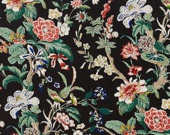 SCHUMACHER BOTANCIAL GARDENS Linen Fabric 10 yards Black Coral Rose Multi