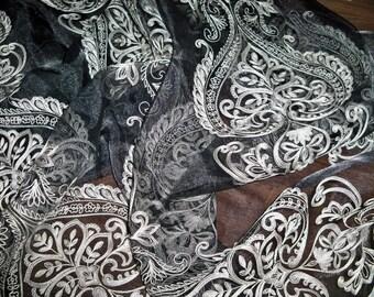 "KOPLAVITCH ORISSA Embroidered Sheer Organza Fabric 10 Yards DW 112"" black"