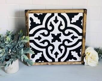 Tile Pattern|Wood Sign