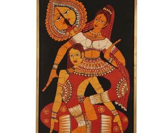Vintage Indian Batik Painting, Vintage Painting, Framed Painting, Indian Art, Indian Decor, Indian Batik, Batik Painting, Tribal painting