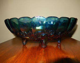 Vintage Carnival Glass Bowl, Blue Iridescent, Grape Harvest, Footed Indiana Glass