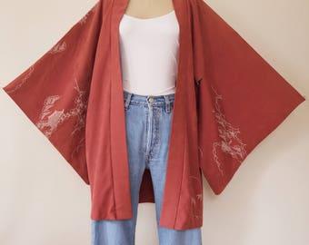 Vintage Japanese Silk Rose Kimono, One Size