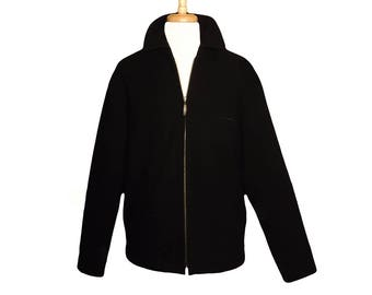 Men's Coat, Wool Coat, Winter Coat, Black Coat, Zipper Coat, Men's Jacket, Vintage Coat, Overcoat, Wool Jacket, Quilted lining- Crazy Horse