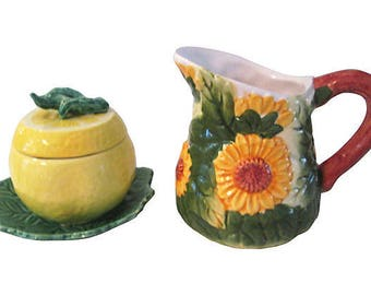 Sunflower and Lemon Creamer & Sugar Bowl, Pair