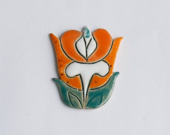 The ceramic brooch Art Nouveau 13