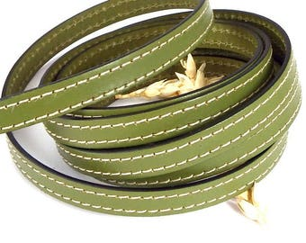 flat leather 10mm pistachio green stitching cpc10vepi 1 meter