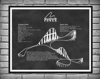 Millennium Force Roller Coaster Cedar Point Sandusky Ohio -  Drawing Illustration - Art - Thrill Ride - Amusement Park Steel Giga Coaster