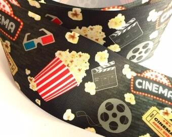 "3 inch Movie Night Cinema Theater Popcorn Film Movies Printed Grosgrain Ribbon Cheer Hair Bow - 3"""
