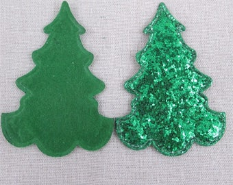 1 Piece - Christmas Tree Embroidery Patch Green Glitter Puffy - Approx. 3.5 inches for Hair bow Center