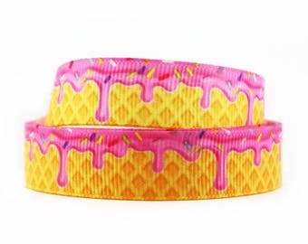 "7/8"" inch Donut Frosting Sweet Food Printed Grosgrain Ribbon for Hair Bow - Original Design"