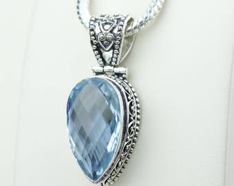 Swiss Blue Topaz Facated Vintage Setting 925 S0LID Sterling Silver Pendant + 4MM Snake Chain & Worldwide Shipping p4229