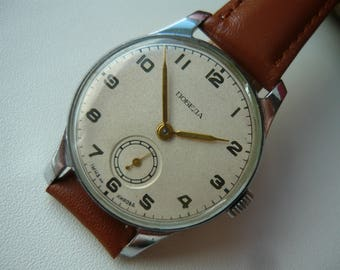 Collectable Vintage Soviet watch Pobeda SERVISED wristwatch USSR mechanical / Made on the First Moscow Watch Factory named after Kirov.