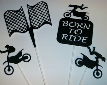 Hand Crafted Dirt Bike centerpiece / Born to Ride / Racing Flags and drivers (257C)