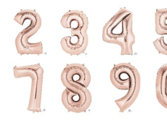 Rose Gold 35inch Mylar Number Balloons