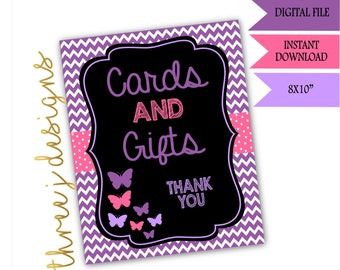 Butterfly Baby Shower Gift and Card Table Sign - INSTANT DOWNLOAD - Purple and Pink - Digital File - J002