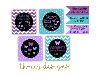 Butterfly Baby Shower Personalized Cupcake Toppers - Purple and Teal - Digital File - J001