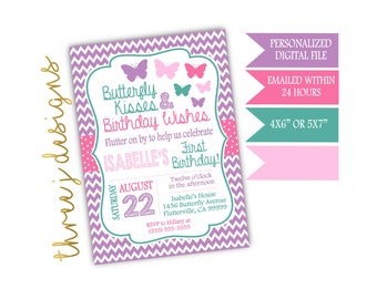 Butterfly Birthday Party Invitation - Purple, Pink and Teal - Digital File - J009