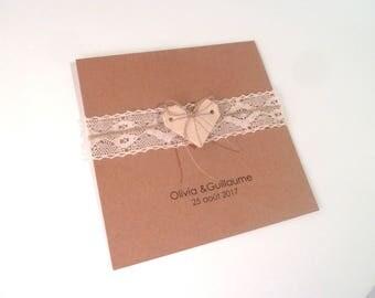 Wedding, birth, baptism - greeting card, 15 x 15 cm heart origami + lace - handmade