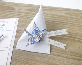 Box dragees berlingot + crane origami liberty Eloise blue - handmade thank you gift christening, wedding guests