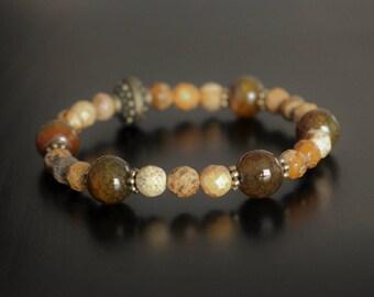 Semi precious stone bracelet, agate and jasper
