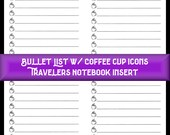 Midori Insert 64 page Bullet List w/ Coffee Cup Icons Insert for Travelers Notebook Covers 9 Travelers Notebook Sizes, 40 Cover Colors