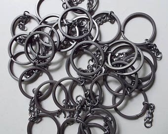 Dark Silvertone 54 Key Rings with Link Chain Lot for Crafts