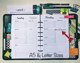 DAILY Planner Pages, DO1P, Jan - Dec 2018, A5, LTR, half page, Dated, Planner Pages, Planner Inserts, Calendar, Printable, MAE