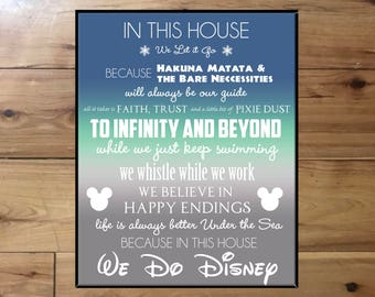 "In This house, We Do Disney!-Perfect gift for any Disney fan-16x20"" Digital file-Available for Download Immidiately"