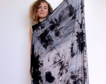 Hand Dyed Blanket Scarf / Blanket Scarf / Shawl / Wrap / Large Scarf / Hand Dyed / Blue / Grey