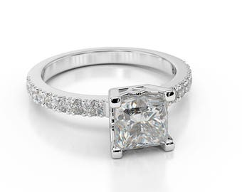 F/SI1 Princess Cut Diamond Engagement Ring 1.40 CT 14K White Gold New
