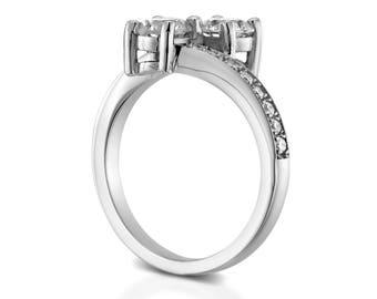 1.70 CT F/SI1 Real Round Cut Diamond Engagement Ring 14K White Gold