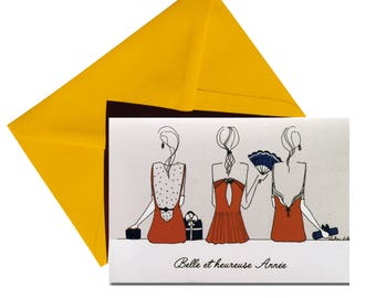 Folded greeting card, yellow envelope.