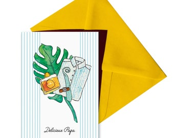 Folded card birthday fathers day, yellow envelope.