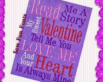Read Me A Story Valentine Reading Design, Embroidery Saying, Reading Pillow Saying, Subway Art, Machine Embroidery Design, INSTANT DOWNLOAD