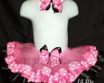 Inspired Minnie mouse ribbon trim tutu, minnie mouse tutu, minnie mouse tutu set, minnie mouse birthday outfit, minnie mouse tutu dress,
