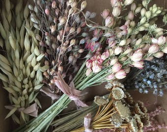 Bloomery Blend No. 0026: Mixed Dried Flower Bunches /  Blue - Pink - Green - White
