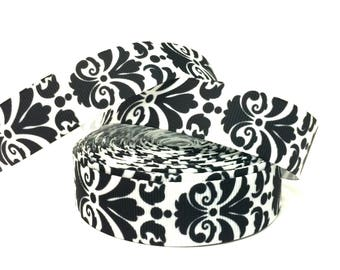 Black Damask Ribbon, Damask Print Ribbon, Black Damask, Damask Ribbon, Damask Print, Grosgrain Ribbon, Wholesale Ribbon, Ribbon for bows