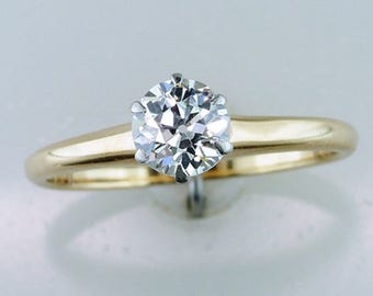Vintage Antique Diamond Solitaire 14K Yellow Gold Engagement Ring