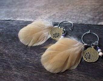 Feather earrings  hoop earrings
