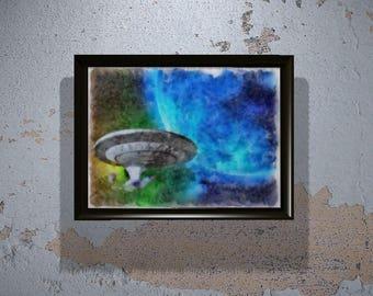 USS Enterprise from Star Trek in Watercolor (Instant Download) - Printable Wall Art - Gift