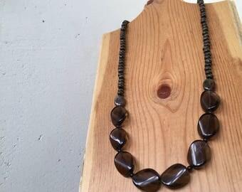 Mamma Earth gemstone necklace, statement necklace, smoky quartz