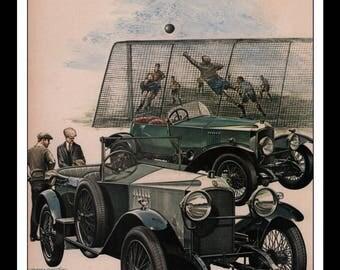 "Vintage Print Ad 1960s : Illustration Soccer Automobile Car Wall Art Decor 8.5"" x 11"" each Advertisement"