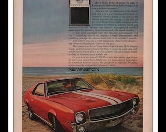 "Vintage Print Ad 1960s : American Motors 1969 AMX Automobile Car Wall Art Decor 8.5"" x 11"" each Advertisement"