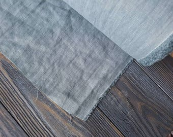 Grayish blue linen fabric by the meter, natural linen pastel grey blue color fabric, washed stonewashed linen fabric by the yard 7oz 200GSM