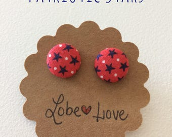 Patriotic Stars Fabric Earrings